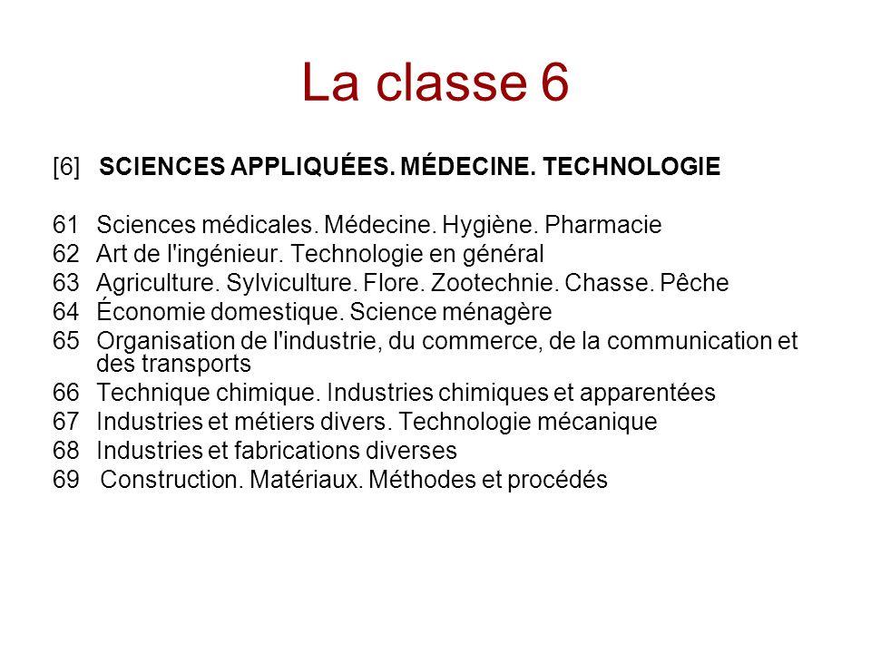 La classe 6 [6] SCIENCES APPLIQUÉES. MÉDECINE. TECHNOLOGIE